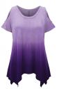 Womens Gradient Color Cold Shoulder Short Sleeve T Shirt Purple