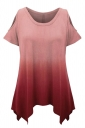 Womens Gradient Color Cold Shoulder Short Sleeve T Shirt Red