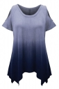 Womens Gradient Color Cold Shoulder Short Sleeve T Shirt Navy Blue