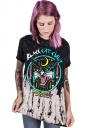 Womens Crew Neck Short Sleeve Black Cat Printed T-shirt Black