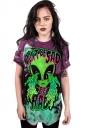 Womens Crew Neck Short Sleeve Alien Printed T-shirt Purple