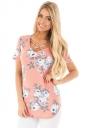 Womens Crisscross Neck Super Soft Floral T-Shirt Pink