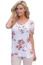 Womens Crisscross Neck Super Soft Floral T-Shirt White