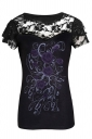 Womens Lace Patchwork Short Sleeve Plus Size Printed T-shirt Black