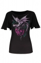 Womens Batwing Sleeve Plus Size Floral Printed T-shirt Black