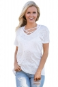 Womens Cross String Short Sleeve Holey Casual T-shirt White
