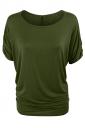 Womens Plain Crew Neck Batwing Short Sleeve T-shirt Green