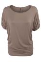 Womens Plain Crew Neck Batwing Short Sleeve T-shirt Khaki
