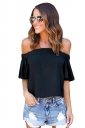 Womens Sexy Off Shoulder Plain Chiffon Ruffle Sleeve Blouse Black