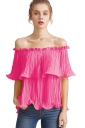 Womens Sexy Off Shoulder Cascading Ruffle Chiffon Blouse Rose Red