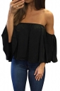 Womens Sexy Off Shoulder Chiffon Blouse Black