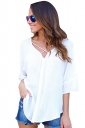 Womens Sexy Crosse Strings V-Neck Open Back Blouse White