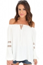 Womens Sexy Off Shoulder Draw String Cut Out Blouse White
