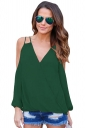 Womens Sexy Cold Shoulder V Neck Wrap Front Breezy Blouse Green