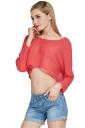 Womens Sexy Plain Chiffon Long Sleeve Crop Blouse Pink