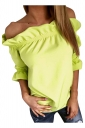 Womens Sexy Off Shoulder Ruffle Chiffon Blouse Yellow