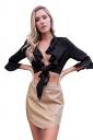 Womens Sexy Ruffled Deep V-Neck Half Sleeve Bandage Crop Top Black