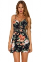 Womens Straps Hollow Out Open Back Floral Skater Dress Navy Blue