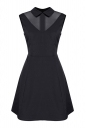 Womens Turndown Collar Mesh Patchwork Zipper Skater Dress Black