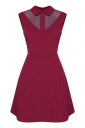 Womens Turndown Collar Mesh Patchwork Zipper Skater Dress Ruby