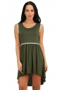 Womens Fashion High Low Pleated Sleeveless Skater Dress Army Green