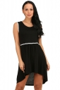 Womens Fashion High Low Pleated Sleeveless Skater Dress Black
