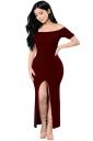 Womens Sexy Off Shoulder High Slits Knitted Clubwear Dress Ruby
