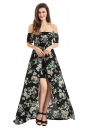 Womens Off Shoulder Vibrant Floral Romper Maxi Dress Black