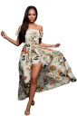 Womens Off Shoulder Vibrant Floral Romper Maxi Dress White