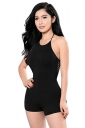 Womens Sexy Halter Slimming Backless Hollow Out Romper Black