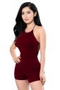 Womens Sexy Halter Slimming Backless Hollow Out Romper Ruby