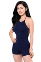 Womens Sexy Halter Slimming Backless Hollow Out Romper Navy Blue