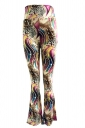 Womens Casual Printed High Waist Flared Pants Gold