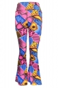 Womens Casual Printed High Waist Flared Pants Rose Red