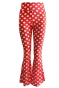 Womens Casual Printed High Waist Flared Pants Red