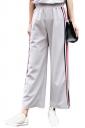Womens Casual Stripes Wide Legs Side Slits Pants Gray