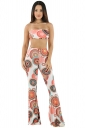 Womens Sexy Bandeau High Waist Floral Printed Wide Legs Suit White