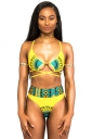 Womens Sexy Printed Cross Strings High Waist Swimwear Set Yellow