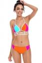 Womens Sexy Halter Strings Two Pieces Bikini Orange