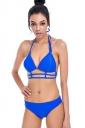 Womens Sexy Halter Strings Two Pieces Bikini Sapphire Blue