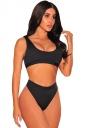 Womens Sexy Sports Styles High Waist Unpadded Bikini Set Black