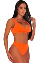 Womens Sexy Sports Styles High Waist Unpadded Bikini Set Orange