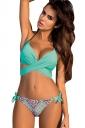 Womens Halter Cross Bandage Top&Printed Bottom 2Pcs Bikini Blue