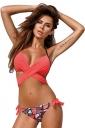Womens Halter Cross Bandage Top&Printed Bottom 2Pcs Bikini Red