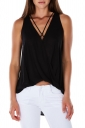Womens Sexy Cross V-Neck Strings Sleeveless Tank Top Balck