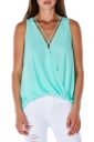 Womens Sexy Cross V-Neck Strings Sleeveless Tank Top Turquoise