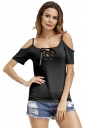 Womens Lace-Up Straps Cold Shoulder T-Shirt Black