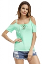 Womens Lace-Up Straps Cold Shoulder T-Shirt Green