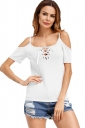 Womens Lace-Up Straps Cold Shoulder T-Shirt White
