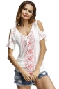 Womens Cold Shoulder Lacing Printed T-Shirt White